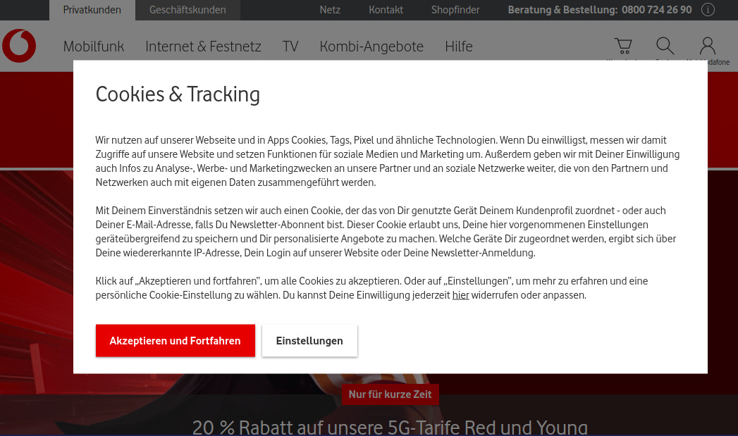 Auch bei Vodafone steht das Kleingedruckte im Vordergrund.