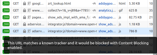 browser warning: matches a known tracker